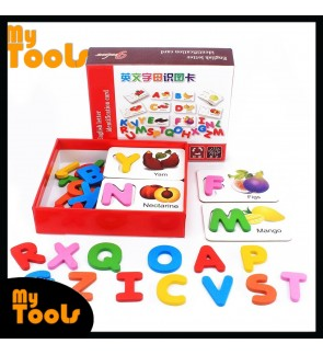 Baby Wooden Toys Puzzles 26 ABC English Letters Spelling Card Spell Words Vegetable & Fruit Learning Cards Preschool