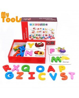 Mytools Baby Wooden Toys Puzzles 26 ABC English Letters Spelling Card Spell Words Vegetable & Fruit Learning Cards Preschool Early Toy