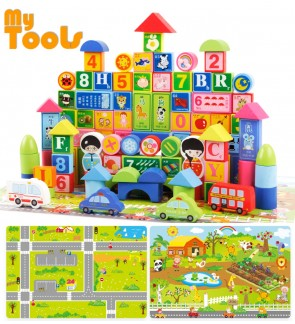 Mytools 15 In 1 Play Puzzle Wooden Block Map City 160pcs ( 100pc block + 60 map) Toys Boys Girls Kids