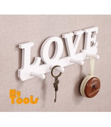 Mytools Wooden LOVE Hanger Hook 4 Hooks Key Holder Rack Clothes Bag Organizer Wall Mounted Decor