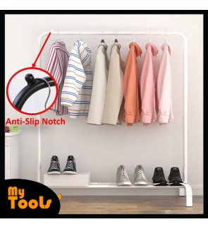 Mytools 110mm Anti Rust Garment Rack Clothes Hanger Metal with Bottom Shelves Cloth Organizer Drying Rack (White)