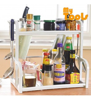 Mytools 2 Layer Seasoning and Kitchen Storage Organizer Rack With 4 Side Hook