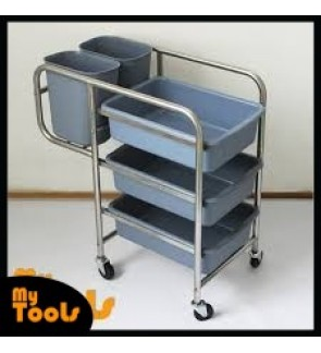 Mytools Stainless Steel Dining Collector Cart Food Court Trolley Cleaning Dishes Wastes Multi Functional Storage Rack