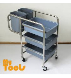 Mytools Stainless Steel Dining Collector Cart Food Court Trolley Cleaning Cart Dishes Wastes Collector Multi Functional Storage Cart Dishes Rack Self Service Troli Medan Selera Pinggan Dapur