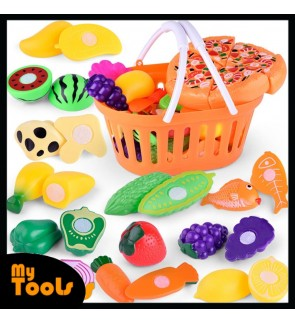 24PCS Children Pretend Play Role House Toy Cut Cutting Fruit Vegetables Pizza Kitchen Baby Kids Toys Educational