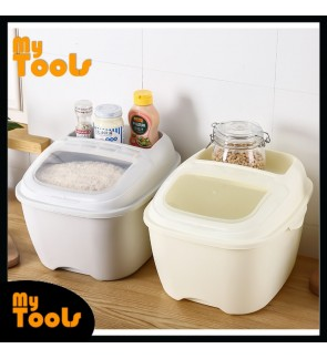 Mytools 10KG Rice Storage Box Rice Box Dispenser Container Cereal Storage Box Food Grade PP with Lid and Compartment