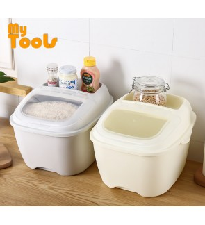 Mytools 10KG Rice Storage Box Rice Box Dispenser Container Cereal Storage Box Food Grade PP with Lid and Compartment Korak Beras