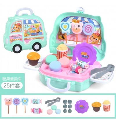 Mytools Pretend Play Suitcase Toy Kids Role Set Kitchen Make Up Ice Cream Fruits Candy Store toys Wheels Luggage for girls boys