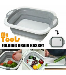 Mytools Foldable Drain Basket Cutting Board Multi-function Retractable Kitchen Wash Fruit Bowl Storage Basket Sink