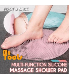 Mytools Silicone Body Scrubber Bath Foot Massage Mat Brush Non-Slip Shower Round Bathroom with Drain Holes and Suction Cups