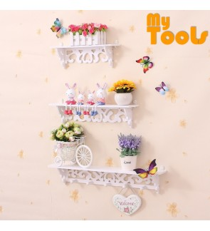 Mytools 3-In-1 PVC Board White Wall Mounted Decor Display Wall Shelf Rack Storage Wall Hanging Shelf Goods Convenient Storage Holder Home