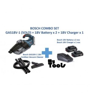 Bosch GAS18V-1 18V Cordless Vacuum Cleaner with 2 x 18V Battery and 1 x 18V Charger