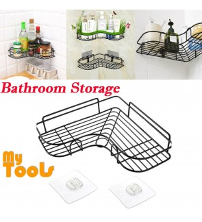 Mytools Wall Mounted Metal Bathroom Shelf Storage Hanging Basket Rack Punch-Free Firm Shower Kitchen Fitted Wall Storage Organizer Rack