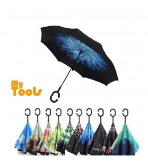 Mytools Reverse Inverted Umbrella Rain Women Men Double Layer Reverse Umbrella C-Hook Hands Self Stand Inside Out Rain Protection Car