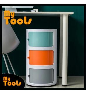 Mytools 3 Tier Cylinder Storage Shelf Box Rack Kids Drawer Bedroom Cabinet Toy Tower