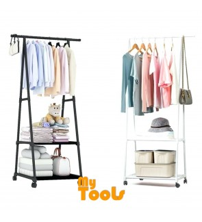 Mytools 3 Tier Wardrobe Clothes Drying Rack Shoe Cloth Organizer Garment Hanging Steel Storage Shelf Rack Cabinet + Wheels