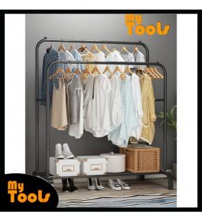 Mytools Double 110mcm Anti Rust Garment Rack Clothes Hanger Metal with Bottom Shelves Cloth Organizer Drying Rack
