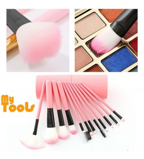 Mytools 12 pcs Barrel Makeup Brushes Cosmetic Make Up Barreled Full set of Dust-proof Bucket Brush Toiletry Kit