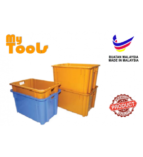 Mytools Multipurpose Rectangle Industrial Crate Bin Stackable Waterproof Food-Grade Heavy Duty for Agriculture, Construction, Confectionery Industries, Warehouse Storage (Black Colour) - Made In Malaysia