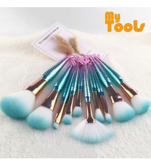 Mytools 10 PCS Mermaid Makeup Brushes Set Eyebrow Eyeliner Blush Blending Contour Foundation Cosmetic Beauty Make Up Fish Brush