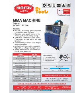 Mytools HIMITZU Japan BZ300 300A 2.6mm (No. 12) to 5.0mm (No. 6) 240V / 415V Super Heavy Duty ARC MMA Welding Inverter Machine Complete Set