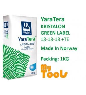 Yara YaraTera KRISTALON GREEN LABEL 18-18-18 +TE 1KG Water Soluble NPK Fertilizer Baja Air Leburan (Made In Norway)