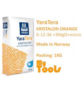 Yara YaraTera KRISTALON ORANGE 6-12-36+3MgO+MICRO 1KG Super K Water Soluble NPK Fruiting Fertilizer Foliar Baja Air Leburan (Made In Norway)