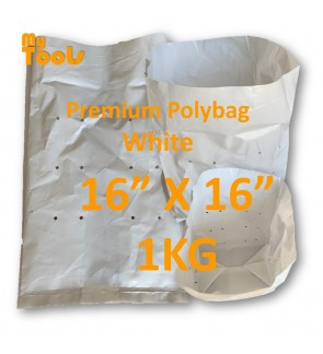 "Mytools 1KG 16"" x 16"" HDPE Premium White Polibeg UV Poly Bag Polybag Nursery Plantation Bag (Made In Malaysia)"