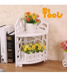Mytools 2 Tier Table Mini Display Shelf Storage Rack Stand Europe Style Modern Wooden Board White