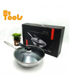 Mytools 32mm Stainless Steel Non Stick Frying Wok Pan Cooking Pot With Cover