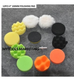 12PCS 4 INCH CAR POLISHING WAXING BUFFING SPONGE PAD KIT + M10 BACK PAD + DRILL ADAPTOR