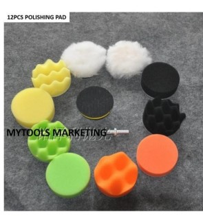 12PCS 5 INCH CAR POLISHING WAXING BUFFING SPONGE PAD KIT + M10 BACK PAD + DRILL ADAPTOR For Grinder