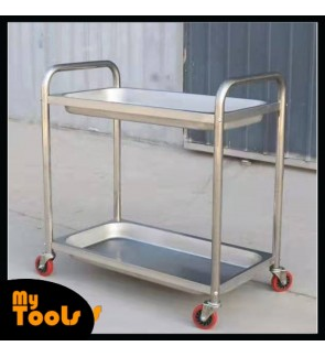 Mytools Heavy Duty Restaurant Dining 2 Tier Stainless Steel Food Kitchen Trolley Cart (M) 85cm(L) X 45cm(W) X 90cm(H)