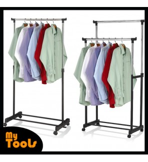 Mytools Single or Double Adjustable Stainless Steel Garment Hanger Clothes Hanger Drying Shoes Rack W Wheels