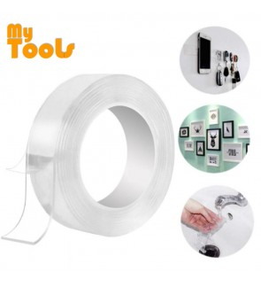 Mytools 1m x 3cm x 2mm Nano Transparent Magic Gel Tape Multi Function Multi Purpose Seamless Double Side Strong Washable Reusable tape