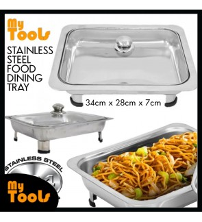 Mytools 34cm x 28cm Stainless Steel Dining Buffet Food Tray Party Event Serving Chafing Tray With Glasses Cover Lid