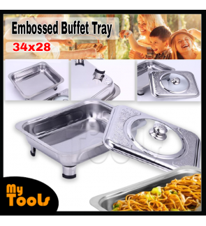 Mytools 34cm x 28cm Embossed Stainless Steel Dining Buffet Food Tray Party Serving Chafing Tray With Glasses Cover Lid