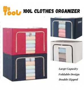 Mytools 100L Large Oxford Cloth Dual Opening Organizer Foldable Storage Box Organizer Clothes For Wardrobe Rack