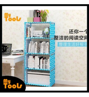 Mytools Korean DIY Book Storage Shelf 5 Tier with 4 Columns Bookcase Multilayer Lightweight Book Shelf Cabinet Rack