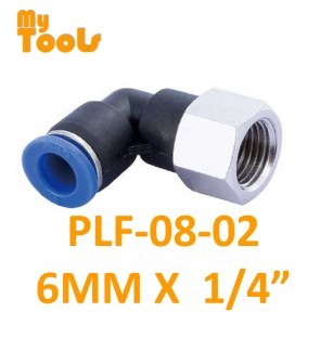 """Mytools PLF 8mm x 1/4"""" , 3/8"""" , 1/2"""" PLF8 Female Threaded Elbow Tubing Tube Adapter Joint Connector Push In One Touch Pneumatic Air Quick Fittings"""