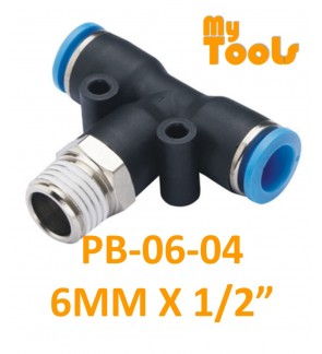 """Mytools PB 6mm x 1/4"""" , 3/8"""" , 1/2"""" PB6 Male Threaded Tee Tubing Tube Adapter Joint Connector Push In One Touch Pneumatic Air Quick Fittings"""