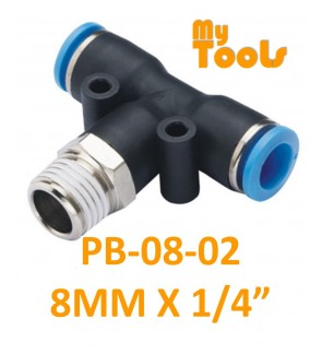 """Mytools PB 8mm x 1/4"""" , 3/8"""" , 1/2"""" PB8 Male Threaded Tee Tubing Tube Adapter Joint Connector Push In One Touch Pneumatic Air Quick Fittings"""