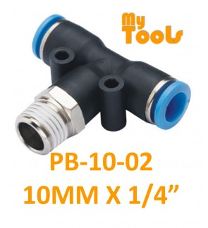 """Mytools PB 10mm x 1/4"""" , 3/8"""" , 1/2"""" PB10 Male Threaded Tee Tubing Tube Adapter Joint Connector Push In One Touch Pneumatic Air Quick Fittings"""