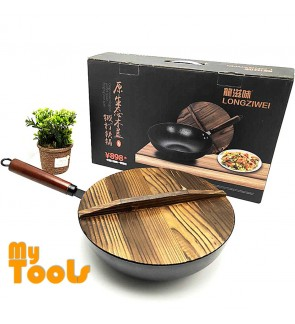 Mytools 32mm Black Steel Non Stick Frying Wok Pan Cooking Pot With Wooden Cover