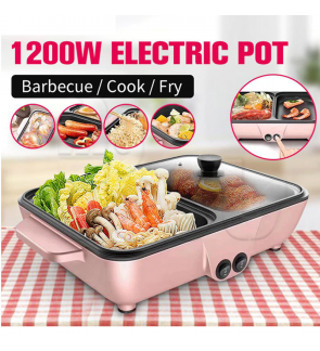 Mytools 2-in-1mini Hot Pot Steamboat Electric BBQ Shabu Grill Fry Multi-function Roasting Pan Dual-use Barbecue Machine