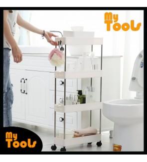 Mytools 4 Tiers Kitchen Bathroom Rack Wide & Slim Space Saver Storage Shelf Shelves Toilet Rack w Wheel