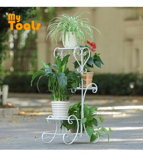 Mytools 4 Tiers Layers White Iron Flower Stand Pot Plant Display Shelves Rack Stand Home Garden Decor