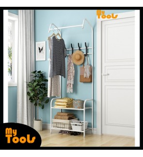 Mytools Indoor Hanger Floor Single Pole Drying Rack Household Bedroom with double organizer Clothes Rack