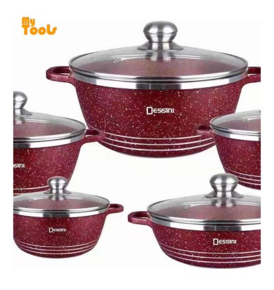 Mytools 10pcs Dessini Italy Cooking Set High Class Non Stick Ceramic Cookware Pot (Full Glass Lid)