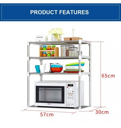 Mytools 3 Layer Tier Multipurpose Kitchen Shelves Organizer Rack Combination Microwave Oven Shelf Storage Space Saver